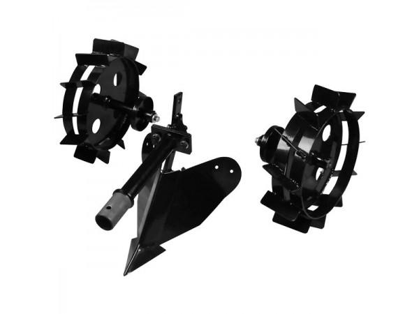 Плуг и металлические колеса